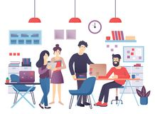 Begrepp av den moderna coworking mitten Idérikt lag i delad arbetsmiljö Vektor för folk i regeringsställning stock illustrationer