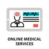 Begrepp av den online-symbolen för medicinsk service Arkivbild