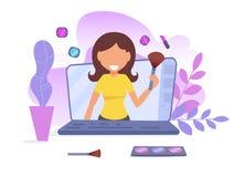 Begrepp av den online-videopd bloggen UtbildningsVlogger vektor cartoon Isolerad konst på vit bakgrund royaltyfri illustrationer