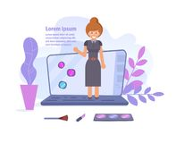 Begrepp av den online-videopd bloggen UtbildningsVlogger vektor cartoon Isolerad konst på vit bakgrund plant royaltyfri illustrationer