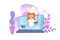 Begrepp av den online-videopd bloggen Vektor för utbildningsVlogger matlagning cartoon Isolerad konst på vit bakgrund vektor illustrationer