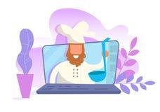 Begrepp av den online-videopd bloggen Vektor för utbildningsVlogger matlagning cartoon Isolerad konst på vit bakgrund plant vektor illustrationer