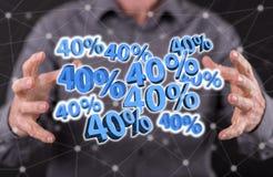 Begrepp av den 40% rabatten Arkivbilder