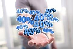 Begrepp av den 40% rabatten Arkivbild