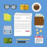 Begrepp av den skattbetalning och fakturan Räkningar och kontroller Arkivfoton