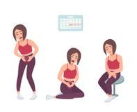 Begrepp av den smärtsamma menstruationen Den obekväma kvinnakänseln, lider med mageknip Färgrik vektorillustration in royaltyfri illustrationer