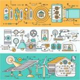 Begrepp av den smarta hem- och kontrollapparaten royaltyfri illustrationer