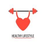 Begrepp av den sunda livsstilen med utbildningshjärta stock illustrationer