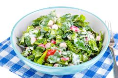 Begrepp av den sunda livsstilen, vegetarisk meny Sallad av nya örter och grönsaker arkivbild