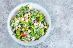 Begrepp av den sunda livsstilen, vegetarisk meny Sallad av nya örter och grönsaker royaltyfri bild