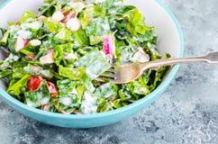 Begrepp av den sunda livsstilen, vegetarisk meny Sallad av nya örter och grönsaker arkivbilder