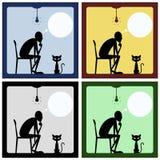 Begrepp av den tänkande mannen med katten Royaltyfri Bild