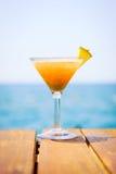 Begrepp av den tropiska semestern Exotisk coctail på pir Luxur Fotografering för Bildbyråer
