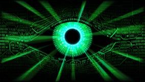 Begrepp av det elektroniska ögat i matris, global bevakning för teknologier, att hacka av ADB-system och nätverk Arkivfoton