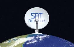 Begrepp av det satellit- nätverket Royaltyfri Bild