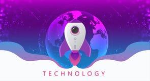 Begrepp av digital teknologi Rocket Flying fr?n jord till utrymme Temabakgrund med ljus effekt royaltyfri foto