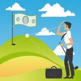 Begrepp av en affärsman som spelar en golf av pengar Royaltyfria Bilder