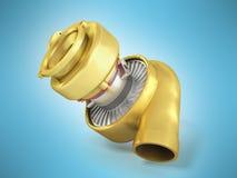 Begrepp av en guld- turbin för tolkningen 3D på en blå bakgrund Arkivfoto