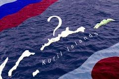 Begrepp av en lång territoriell tvist och förhandlingar mellan Ryssland och Japan över äganderätten av de Kuril öarna ryss stock illustrationer