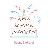 Begrepp av en stor födelsedagkaka med en stearinljus och en godis med den lyckliga födelsedagen för ord Vektorillustration i ett  vektor illustrationer