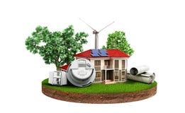 Begrepp av energi - besparinghus med solpaneler och en väderkvarn Royaltyfri Fotografi
