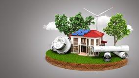 Begrepp av energi - besparinghus med solpaneler och en väderkvarn Royaltyfria Bilder