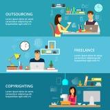 Begrepp av entreprenadiseringen och frilans- och ta copyright på process royaltyfri illustrationer