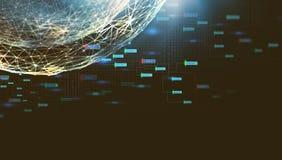 Begrepp av ett nätverk som baseras på Blockchain teknologi Abstrakt futuristisk illustration av ett nätverk för globala kommunika royaltyfria foton
