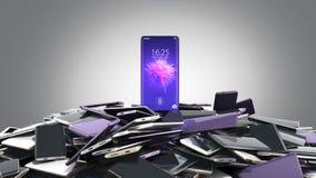 Begrepp av färg 3d för smarta telefoner flagmanmodellModern för full skärm slumpmässig att framföra på grå lutning stock illustrationer