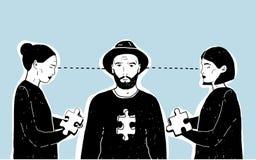 Begrepp av förälskelsetriangeln, svårt val Ung grabb och två flickor med pusselstycket Dragen illustration för vektor hand på Royaltyfria Foton