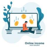 Begrepp av förtjänster på internet, online-inkomst royaltyfri illustrationer