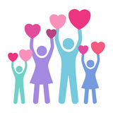 Begrepp av familjen som ger förälskelse Arkivfoto
