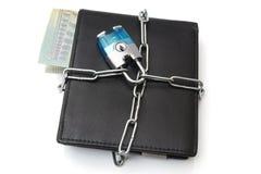 Begrepp av finansiell säkerhet med plånboken och kedjan Royaltyfria Bilder