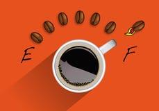 Begrepp av full energi med en kopp kaffe formad behållareräknare stock illustrationer