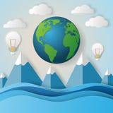 Begrepp av grön det ecojord och havet pappers- konststil Arkivfoto