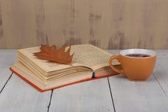 Begrepp av hösten som vilar - kopp te med färgrik leav för höst arkivfoton