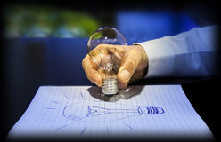 Begrepp av idén: skriva med en ljus kula Arkivfoton