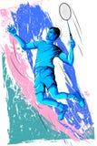 Begrepp av idrottsmannen som spelar badminton Arkivbilder