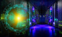 Begrepp av informationsteknik och stora data teknologisk bakgrund av futuristiska det moderna serverrummet för hologram Royaltyfria Bilder