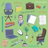 Begrepp av inre workspace för idérikt kontorsrum, arbetsplats Royaltyfri Bild
