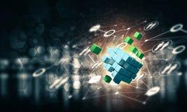 Begrepp av internet och nätverkande med det digitala kubdiagramet på D Fotografering för Bildbyråer