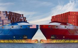 begrepp av konfrontation på havsruttar mellan Förenta staterna och Kina arkivfoton