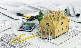 Begrepp av konstruktions- och arkitektdesignen Arkivbild