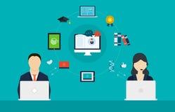 Begrepp av konsulterande service och e-att lära Arkivfoto