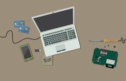 Begrepp av kreditkortbedrägerit En hackerarbetsplats Plan stildesign också vektor för coreldrawillustration royaltyfri illustrationer