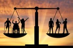 Begrepp av laglig jämställdhet för samkväm b av personer med handikapp i samhälle royaltyfri bild