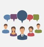Begrepp av ledarskap, dialoganförandebubblor stock illustrationer