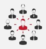 Begrepp av ledarskap, gemenskapaffärsfolk Arkivbild