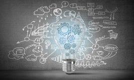 Begrepp av lightbulben som symbol av den nya idén Arkivbild
