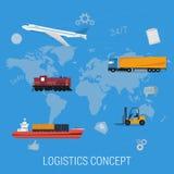 Begrepp av logistiktrans. på världskarta Royaltyfri Illustrationer